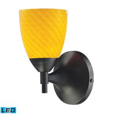 Celina 1 Light LED Sconce In Dark Rust And Canary Glass 10150/1DR-CN-LED