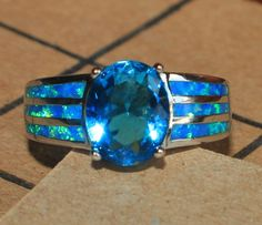blue fire opal topaz ring silver jewelry Sz 6.5 modern engagement wedding band Z #Cocktail