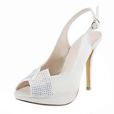 Satin Stiletto Heel Peep Toe / Slingbacks With Rhinestone Wedding Shoes (More Colors Available) – USD $ 79.99