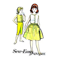 1960s Girls Ruffled Top Skirt Pants Advance 2940 Vintage Sewing Pattern
