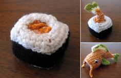 Crocheted fish turns into crocheted sushi