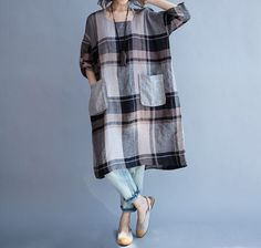 linen dress plus size /linen dress women/ loose от babyangella Dress Plus Size, Linen Blouse, Linen Tunic, Loose Fitting Tops, Linen Dresses, Plus Size Blouses, Trends 2018, Simple Dresses, Dress Patterns