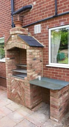 Inspirational points that we absolutely love! Outdoor Stove, Pizza Oven Outdoor, Garden Bbq Ideas, Outdoor Kocher, Brick Grill, Built In Braai, Barbecue Design, Grill Gazebo, Fire Pit Grill