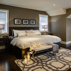 dark furniture...white linens...love