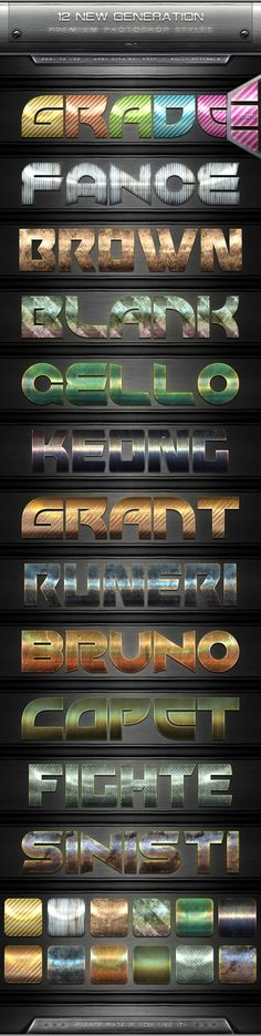 12 New Generation Text Effect Styles Vol.7Description 12 New generation text effect styles, with high quality can produce effects