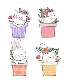 Draw cat and rabbit sleeping in flowerpot for spring. Cute Doodle Art, Cute Art, Gato Doodle, Cat Drawing, Rabbit Drawing, Bunny Art, Cartoon Wallpaper, Digi Stamps, Cute Illustration