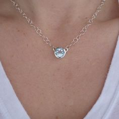 Sky Blue Orpheum Necklace In Sterling Silver