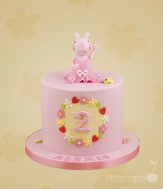 Little Cherry Cake Company - Peppa Pig Cake Peppa Pig Birthday Cake, Birthday Cake Girls, 3rd Birthday, Girly Cakes, Big Cakes, Cherry Cake, Character Cakes, Shower Cakes, Decoration