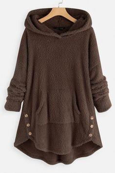 Aniywn Women Winter Warm Fuzzy Fleece Hooded Sweatshirt Ladies Outwear Pullover Coat with Pocket