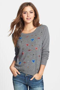 Halogen Jewel Embellished Cashmere Sweater