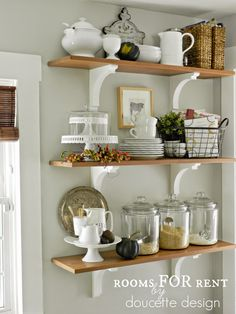 Dining Room Shelves, Kitchen Shelves, Open Shelves, Dining Rooms, Kitchen  Walls