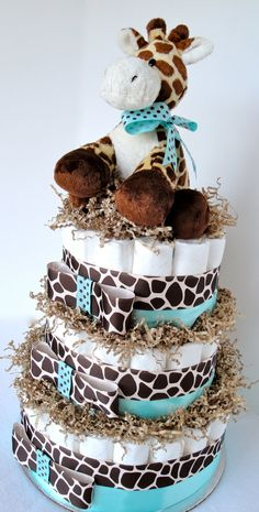 Giraffe Diaper Cake - Giraffe Theme Tiffany Blue & Brown Baby Shower Diaper Cake Centerpiece - 3 Tier - Shower Decoration Gift