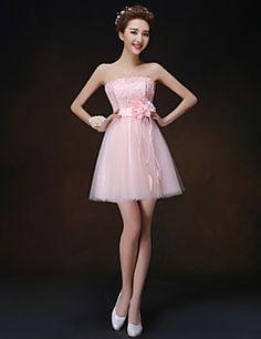 uma linha / princesa strapless mini vestido curto / dama de honra (b)