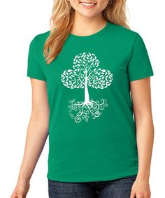 Look at this SignatureTshirts Green Tree of Life Crewneck Tee - Plus on today! Tree Of Life Quotes, Green Trees, Cotton Tee, That Look, Crew Neck, Tees, Celtic, How To Wear, Women