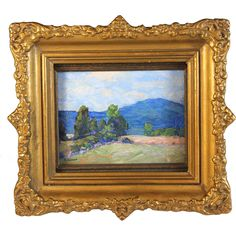 Impressionistic Miniature Landscape Oil Painting signed E.Walker circa  1929