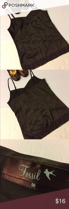 Fossil Camisole This is a great layering piece.  A Fossil Camisole in a warm brown color.  Nice and silky.  Great condition.  No snags, holes, pilling or stains.  Size M. Fossil Tops Camisoles