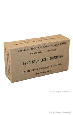A2005 - Reproduction of an original wartime Dyed Sterilized Dressing box. Made of cardboard.