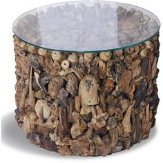 Shore Driftwood Drum Side Table (€285) ❤ liked on Polyvore featuring home, furniture, tables, accent tables, driftwood table, handcrafted furniture, handmade furniture, handmade tables and drift wood furniture