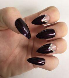 Set of 20 Handmade Dark Rhinestone Negative Space Press On Stiletto Nails  | eBay