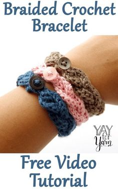 How to Make a Braided Crochet Bracelet – Yay for YarnYou can find Crochet bracelet and more on our website.How to Make a Braided Crochet Bracelet – Yay for Yarn Crochet Bracelet Pattern, Crochet Jewelry Patterns, Crochet Motifs, Crochet Flower Patterns, Crochet Accessories, Summer Accessories, Doilies Crochet, Crochet Jewellery, Crochet Puff Flower