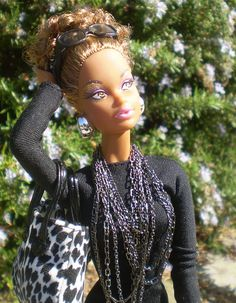 Dress - Barbie Basics #4, Sunglasses and scarf - Basics set #1, Handbag - Robert Best, Necklace - Jason Wu, Earrings - models own     Celebrating the 30th anniversary of the first[African American Barbie Doll].   Includes many new models as well as originals.