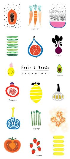 Dekanimal Art illustration kid's room decor Fruits and Veggies print Home decor Nursery print Kitchen art
