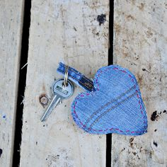 Scraps of old jeans are perfect for upcycling into cute padded denim heart keyrings. Make a great Valentine's gift.