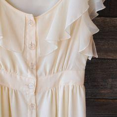 'Jououich Hawk' Creme chiffon feminine dress | clear buttons, button up | Size: 7 | Worn once | $45 | See Instagram @Robert NOIR to purchas...