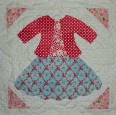 dolly dresses... the quilt | Jaybird Quilts  I SAW this  Block + in a few on-line quilt shops. Also I have seen the same idea in a Simple Adorable Quilt book with Quilts  from the 1930's. They have many different types & styles of doll size frocks to chic outfits. Anyone Out There Have some pictures or have made a quilt like this ???