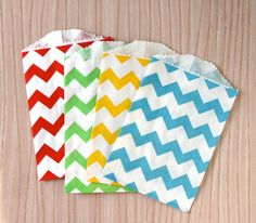Primary Color Mix Chevron Paper Bags  Red Yellow by sweetestelle, $6.00