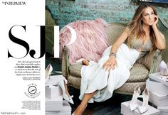 Sarah Jessica Parker wearing Reem Acra dress for Harper's Bazaar Arabia December 2014. #sarahjessicaparker