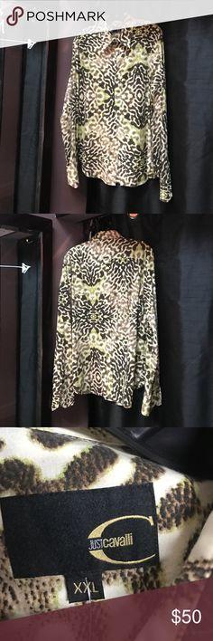 Just Cavalli animal print button down shirt Just Cavalli never worn, green/brown/beige,animal print, button down shirt. Just Cavalli Tops Button Down Shirts