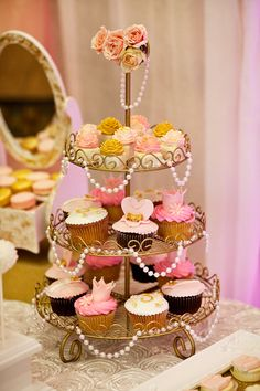 {Pink Gold} Royal Princess Birthday Party Get a tiered cupcake stand, drape faux pearls over it for a lux look
