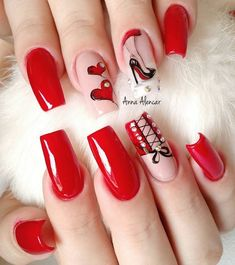 simple and cute natural acrylic coffin nails design - Page 102 of 150 - Inspiration Diary Red Nail Art, Red Acrylic Nails, Red Nails, Brown Nails, Rockabilly Nails, Corset Nails, Valentine Nail Art, Red Nail Designs, Heart Nails