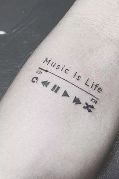 Check out this neat music tattoo - what an original design and development Love Music Tattoo, Small Music Tattoos, Music Tattoo Designs, Small Tattoos For Guys, Small Tattoo Designs, Tattoo Small, Rib Tattoos Words, Arm Quote Tattoos, One Word Tattoos