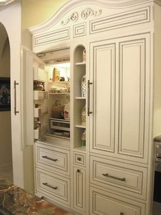 if money weren't an issue this is a great way to hide a refrigerator Kitchen And Bath, New Kitchen, Kitchen Decor, Country Kitchen, Room Kitchen, Kitchen Furniture, Furniture Design, Dining Room, Refrigerator Cabinet