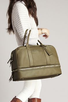 Olive satchel that's perfect for traveling, the gym, or as a chic diaper bag!