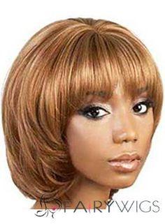 Custom Super Charming Short Wavy Blonde African American Wigs for Women 12 Inch