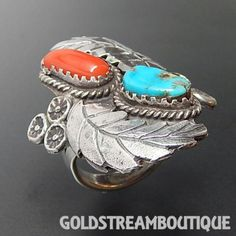 OLD PAWN NAVAJO STERLING SILVER TURQUOISE & CORAL FEATHERS MASSIVE RING SIZE 9.5