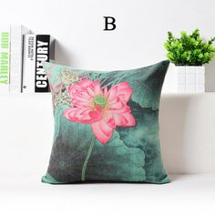 pink lotus flowers throw pillows for couch chinoiserie sofa cushions 18 inch - Decorative Pillows For Couch