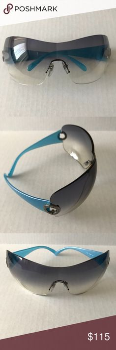 "BVLGARI Sunglasses Gray Blue 646 9438G 120 BVLGARI Sunglasses  Gray Blue  646 9438G 120 Gradient Smoke Rimless Rare hard to find Dipstick 4.5"" Bridge 1.5"" Width 6"" Made in Italy Authentic  No case Minor scratches on dipstick and bottom of lens bvlgari Accessories Sunglasses"