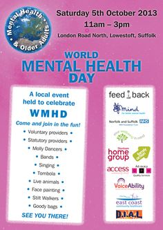 World Mental Health Day, Saturday 5th October 2013, Lowestoft   Iceni Post: News and Events from the North folk & South folk - Community Blog for Norfolk and Suffolk