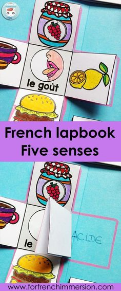 French Foldable Flaps (sense of taste). Activity included in the French Five Senses Lapbook: a hands-on, interactive activity to recap and consolidate knowledge about the five senses. Interactive Notebooks Kindergarten, Kindergarten Science, Interactive Activities, Elementary Science, Interactive Display, 5 Senses Activities, Learning Activities, French Numbers, Core French