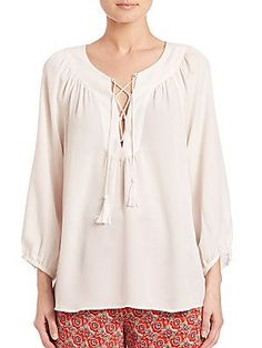 Joie Pacaya Lace-Up Silk Blouse - Porcelain Peasant Tops, Tunic Tops, Pacaya, White Silk, Saks Fifth Avenue, Smocking, Lace Up, Porcelain, Sleeves