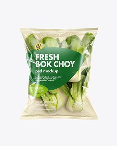 Plastic Bag With Bok Choy Mockup. Present your design on this mockup. Includes special layers and smart objects for your Salad Packaging, Food Packaging Design, Plastic Food Packaging, Vegetable Packaging, Chinese Cabbage, Cookies Et Biscuits, Mockup, Snack Recipes, Shopping