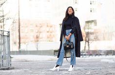 Lisa Jones wearing Samuji Blaine Coat at New York Fashion Week