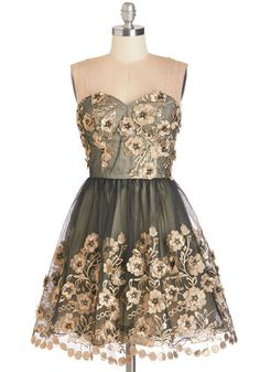 Debut Your Dazzle Dress by Chi Chi London - Short, Black, Gold, Floral, Flower, Special Occasion, Prom, Party, Homecoming, Fit & Flare, Strapless, Woven, Sweetheart