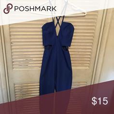 Royal blue jumpsuit Cut out sides with criss cross back jumpsuit Fashion Nova Pants Jumpsuits & Rompers