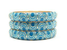Peacock Blue Bangle Bracelets