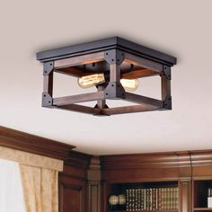 Shop for Larissa Black Wood Industrial Square 2 Light Flush mount Fixture. Get free delivery at Overstock Your Online Ceiling Lighting Store! Get in rewards with Club O! Flush Mount Chandelier, Flush Mount Lighting, Pendant Chandelier, Light Pendant, Pendant Lighting, Ceiling Light Fixtures, Ceiling Fan, Ceiling Lights, Lighting Store